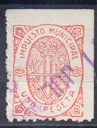 ESPAÑA.BARCELONA  1955.IMPUESTO MUNICIPAL. UNA PESETA. USADO .  CECI 2.27 - Fiscales