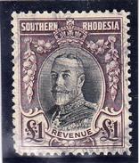 SOUTHERN RHODESIA  KING GEORGE 4. REVENUE. ONE POUND. USED VERY FINE  CECI 2.27 - Rhodésie Du Sud (...-1964)