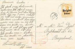 509/25 - Carte Fantaisie TP Germania THIELEN 1917 Vers Borgerhout - Censure Antwerpen - Guerre 14-18
