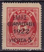 GREECE 1923 1922 Overprint Crete Postage Due Of 1908 5 L / 5 L Small ELLAS Red Vl. 386 MH - Ongebruikt