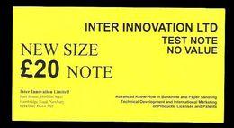 """Test Note """"INTER INNOVATION, Typ G, 20 Pounds, Testnote, Eins. Druck, RRRRR, UNC - Ver. Königreich"""