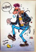MARGERIN BANDE DESSINEE  PUNK CARTE MDM 1985 - Autres Illustrateurs