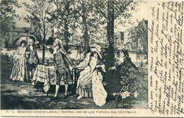 POSTAL De MADRID   Ciudad Lineal  ( Tapiz De La Entrada Del Teatro )  Circulada 1914 -378 - Madrid
