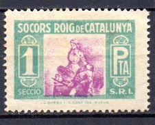 Viñeta Politica   Nº 550/1589 Socorro Rojo De Cataluña. 1 Pta - Verschlussmarken Bürgerkrieg
