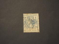 ITALIA REGNO - Enti Semistatali - VARIETA' - 1924 TURRITA L.1,  Socia! (! Anzichè E) - TIMBRATO/USED - 1900-44 Victor Emmanuel III.
