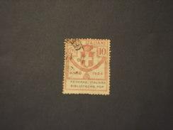 ITALIA REGNO - Enti Semistatali - VARIETA' - 1924 STEMMA 10 C., Senza Punto Dopo Pop - TIMBRATO/USED - 1900-44 Victor Emmanuel III.