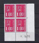 """FR Coins Datés  YT 1892 """" Marianne Béquet 1F00 Rouge """" Neuf** Du 8.9.76 - Coins Datés"""