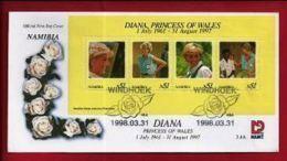 NAMIBIA, 1998, Mint FDC , Diana Princess Of Wales, MI Nr. 3.04ms  F3617 - Namibia (1990- ...)