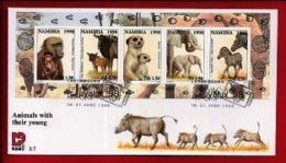 NAMIBIA, 1998, Mint FDC , Animals With Young, MI Nr. 3.07ms  F3624 - Namibië (1990- ...)