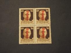 REPUBBLICA SOCIALE IT. -  1944 RE  30 C., In Quartina/block Of Four - NUOVI(++) - 4. 1944-45 Repubblica Sociale