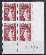 """FR Coins Datés Yt 1965 """" Sabine 10c. Rouge-brun """" Neuf**  Du 7.2.78 - Coins Datés"""