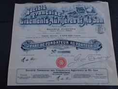ACTION / TONKIN-HOA BINH - GISEMENTS AURIFERES DE MO-SON - PART DE FONDATEUR - PARIS 1903 - BELLE ILLUSTRATION - Aandelen