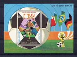 GUINEA Ecuatorial 1974 Football Soccer World Cup Germany IMPERFORATED  Block Mini Sheet MNH - Coppa Del Mondo