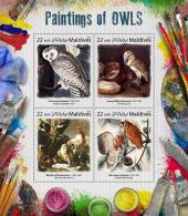 MALDIVES 2017 ** Owls Paintings Audubon Sartorius Hondecoeter M/S - OFFICIAL ISSUE - DH1731 - Kunst