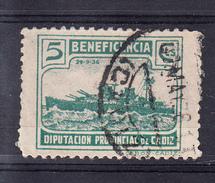 CADIZ 1937.DIPUTACION PROVINCIAL.BENEFICENCIA. CRUCERO CANARIAS  5 CTMOS.VERDE  .FESOFI Nº 94 USADO. CECI 2.29 - Emissions Nationalistes