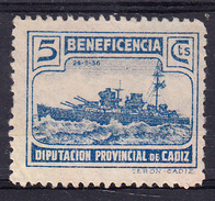 CADIZ 1937.DIPUTACION PROVINCIAL.BENEFICENCIA. CRUCERO CANARIAS  5 CTMOS.AZUL  .FESOFI Nº 94 NUEVO SIN GOMA . CECI 2.29 - Emissions Nationalistes