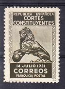 ESPAÑA 1931.CORTES CONSTITUYENTES. 14 JULIO. EL LEON DE LAS CORTES. NUEVO CON CHARNELA  CECI 2.29 - Franquicia Postal