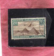 EGYPT EGITTO 1933 1938 AIR MAIL POSTA AEREA AIRPLANE OVER GIZA PYRAMIDS 20m USATO USED OBLITERE' - Posta Aerea