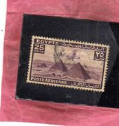 EGYPT EGITTO 1941 1943 AIR MAIL POSTA AEREA AIRPLANE OVER GIZA PYRAMIDS 25m USATO USED OBLITERE' - Posta Aerea