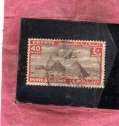 EGYPT EGITTO 1933 1938 AIR MAIL POSTA AEREA AIRPLANE OVER GIZA PYRAMIDS 40m USATO USED OBLITERE' - Posta Aerea