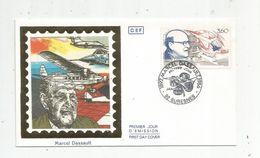 Timbre, FDC , 1 Er Jour , MARCEL DASSAULT 1892 - 1986 , SURESNES , 1988 , Aviation - 1980-1989
