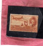 EGYPT EGITTO 1947 AIR MAIL POSTA AEREA KING FAROUK DELTA DAM DC-3 PLANE 7m USATO USED OBLITERE' - Poste Aérienne