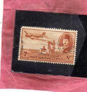EGYPT EGITTO 1947 AIR MAIL POSTA AEREA KING FAROUK DELTA DAM DC-3 PLANE 7m USATO USED OBLITERE' - Posta Aerea