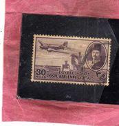 EGYPT EGITTO 1947 AIR MAIL POSTA AEREA KING FAROUK DELTA DAM DC-3 PLANE 30m USATO USED OBLITERE' - Poste Aérienne