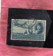 EGYPT EGITTO 1947 AIR MAIL POSTA AEREA KING FAROUK DELTA DAM DC-3 PLANE 50m USATO USED OBLITERE' - Posta Aerea