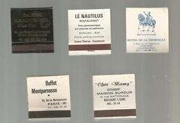 G-I-E , Tabac  , Pochette D'ALLUMETTES , 2 Scans , Hotel , Restaurant , Buffet, Bar, Bowling , LOT DE 5 POCHETTES - Matchboxes