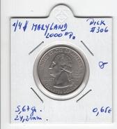 """USA. 1/4 $ """"Maryland 2000 P"""". KM #306. Qualité. - 1999-2009: State Quarters"""