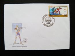 Cover Latvia 2002 Sport Olympic Games Salt Lake City Biathlon Fdc - Letonia