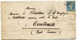 JURA De DOLE DU JURA GC 1313 Sur N°22 Sur LSC De 1865+ Verso Passe 1307 De DIJON - Marcophilie (Lettres)