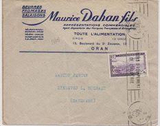 17791# ALGERIE POSTE AERIENNE N° 6 SEUL LETTRE BEURRE FROMAGE SALAISON Obl ORAN RP 1950 HOLBAEK DANEMARK DANSK DANMARK - Poste Aérienne