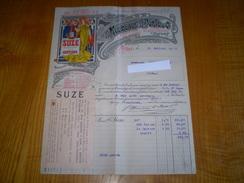 Style Mucha Art Nouveau Pour Facture Suze, F. Moureaux & H. Porte & Cie Distillateurs à Alfort , Seine . 1916 - Alimentos