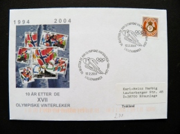 Cover Norway 2004 Sport Olympic Games Special Cancel Lillehammer Torch - Norway