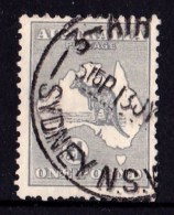 Australia 1935 Kangaroo 1 Pound Grey C Of A Watermark Used - Usados