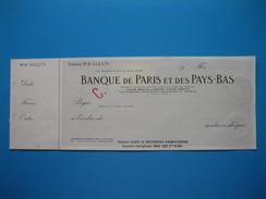 (1937) Chèque De La BANQUE De PARIS Et Des PAYS-BAS - Chèques & Chèques De Voyage