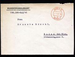 A4797) Österreich Austria Brief Vom Bundeskanzleramt Wien 2.10.46 - 1945-60 Briefe U. Dokumente