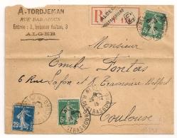 ALGER R. DE STRASBOURG Algérie, Recommandé Griffe G3. 5c Semeuse Collé Défectueux. FRAUDE De POSTIER ? - Poststempel (Briefe)