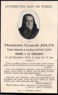 FAIRE-PART Du Décès De Madame Ernest Jouin Le 29 Décembre 1919 - Overlijden