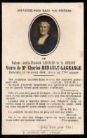FAIRE-PART Du Décès De Madame Gaignard De La Renloue  Le 10 Aout 1901 - Obituary Notices