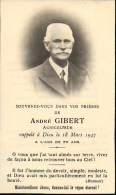 FAIRE-PART Du Décès De Monsieur André Gibert Le 18 Mars 1947 - Obituary Notices