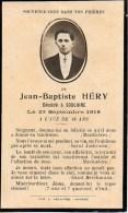 FAIRE-PART Du Décès De Monsieur Jean-Baptiste Héry Le 23 Septembre 1918 - Overlijden