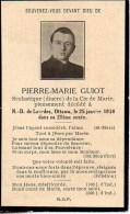 FAIRE-PART Du Décès De MonsieurPierre-Marie Guiot (Diacre) Le 25 Janvier 1914 - Overlijden