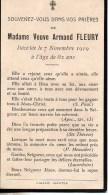 FAIRE-PART Du Décès De Madame Veuve Armand Fleury Le 7 Novembre 1919 - Obituary Notices