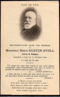 FAIRE-PART Du Décès De Monsieur LHenri Gustin-Stoll (Consul De Belgique) Le 11 Février 1935 - Obituary Notices