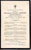 FAIRE-PART Du Décès De Monsieur Francis Ripert (Médecin Vétérinaire) Le 21 Septembre 1884 - Obituary Notices