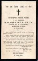 FAIRE-PART Du Décès De Monsieur Adolphe Dubigeon (engagé Au 2e Cuirassier) Le 12 Juin 1889 - Obituary Notices