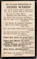 FAIRE-PART Du Décès De Monsieur Henri Wéber Je 5 Aout 1906 - Obituary Notices